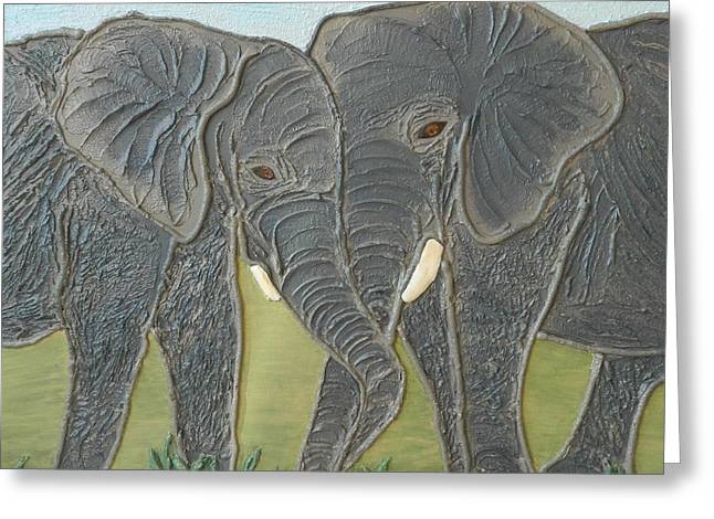 Contemporary Art Reliefs Greeting Cards - Emotions Greeting Card by Liza Wheeler