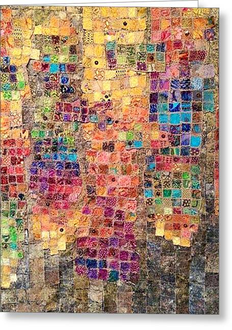 Thread Tapestries - Textiles Greeting Cards - Emotions Mosaic Greeting Card by Donniece Smith