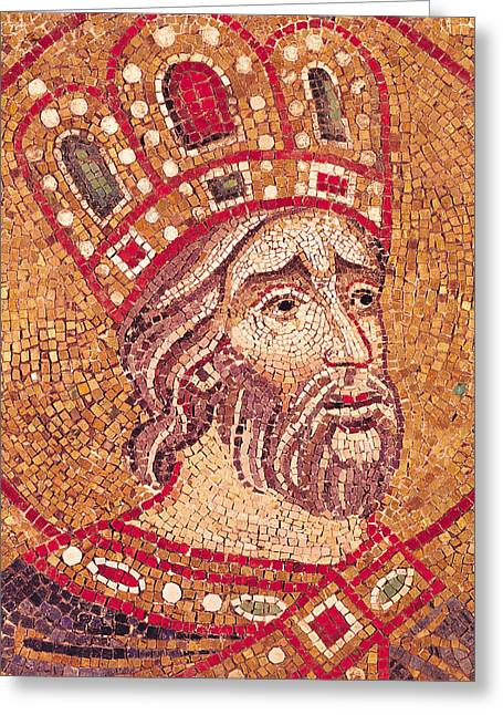 Mosaic Mixed Media Greeting Cards - Emperor Constantine I Greeting Card by Byzantine School