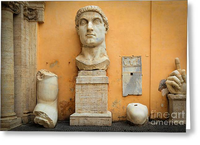 Roman Streets Greeting Cards - Emperor Constantine Greeting Card by Inge Johnsson