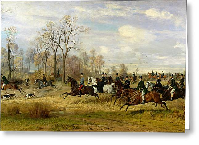 Austria Paintings Greeting Cards - Emperor Franz Joseph I of Austria Hunting to Hounds with the Countess Larisch in Silesia Greeting Card by Emil Adam