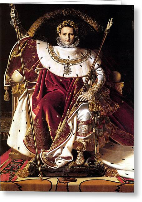 French Revolution Greeting Cards - Emperor Napoleon I On His Imperial Throne Greeting Card by War Is Hell Store