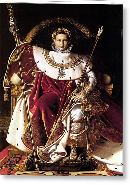 French Leaders Greeting Cards - Emperor Napoleon I On His Imperial Throne Greeting Card by War Is Hell Store