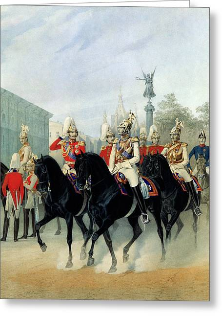 Tsar Alexander Greeting Cards - Emperor Nicholas I 1796-1855 And Grand Duke Alexander 1845-94 In St. Petersburg, 1843 Wc On Paper Greeting Card by Karl Karlovich Piratsky
