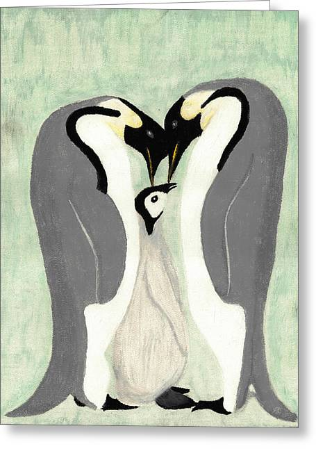 Penguins Pastels Greeting Cards - Emperor Penguin Family Greeting Card by Jessica Foster