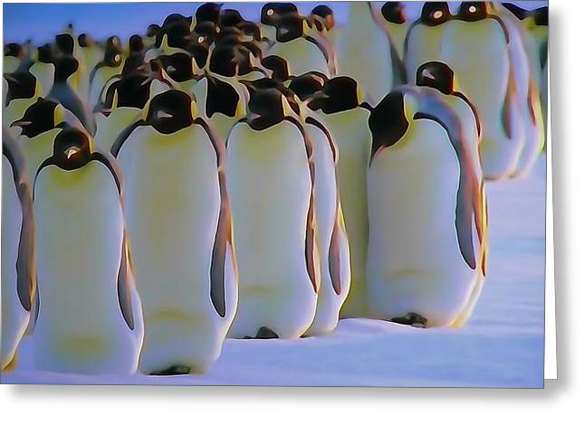 Emperor Penguin Greeting Cards - Emperor Penguin March Greeting Card by Dan Sproul