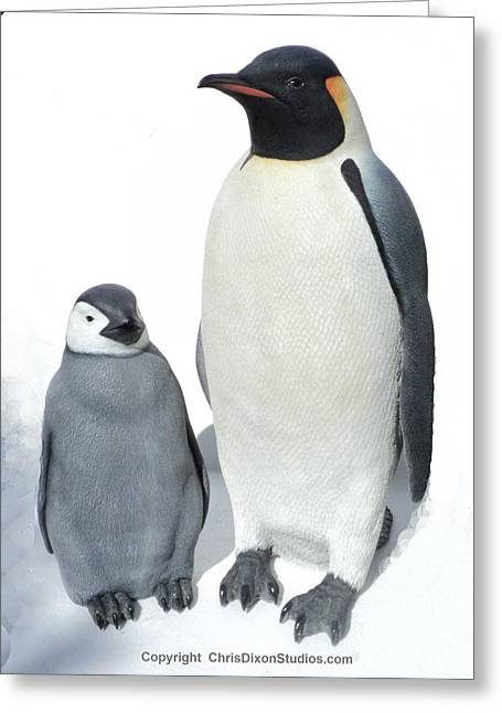 Emperor Sculptures Greeting Cards - Emperor Penguins Super realistic Life-size Greeting Card by Chris Dixon