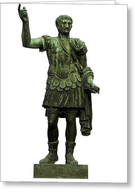 White Background Greeting Cards - Emperor Trajan Greeting Card by Fabrizio Troiani