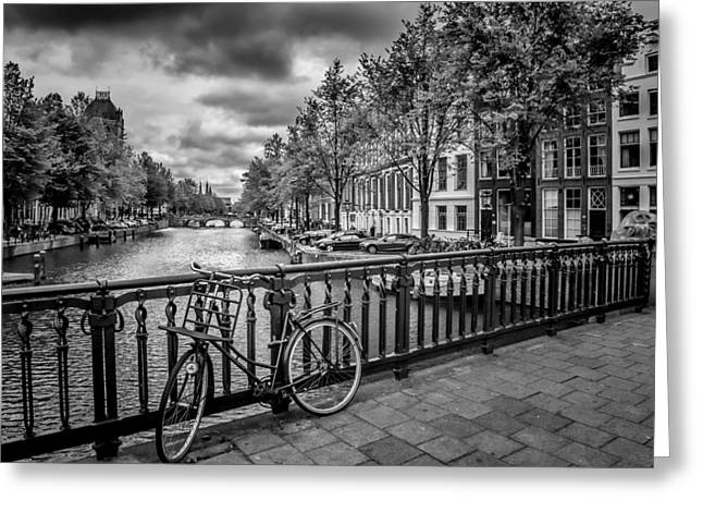 Grey Clouds Digital Art Greeting Cards - Emperors Canal Amsterdam Greeting Card by Melanie Viola