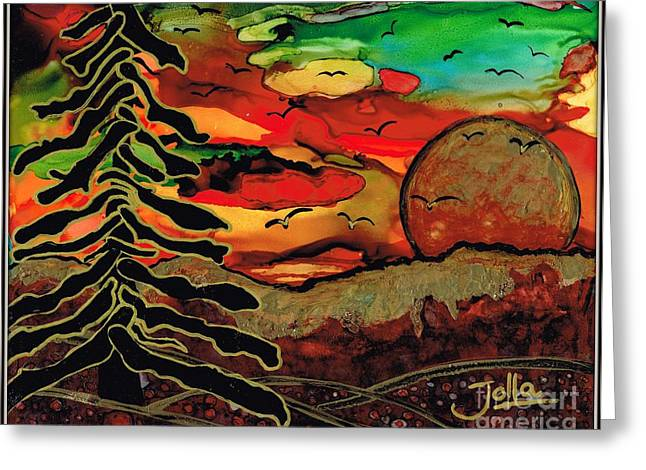 Fantasy Tree Greeting Cards - Emperors Sun Greeting Card by Jolanta Anna Karolska