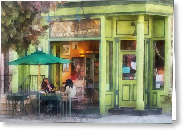 Al Fresco Greeting Cards - Hoboken NJ - Empire Coffee and Tea Greeting Card by Susan Savad