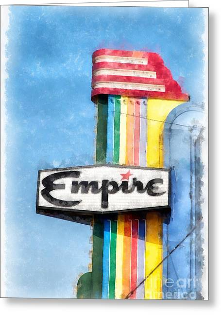Neon Sign Greeting Cards - Empire Movie Theater Neon Sign Greeting Card by Edward Fielding