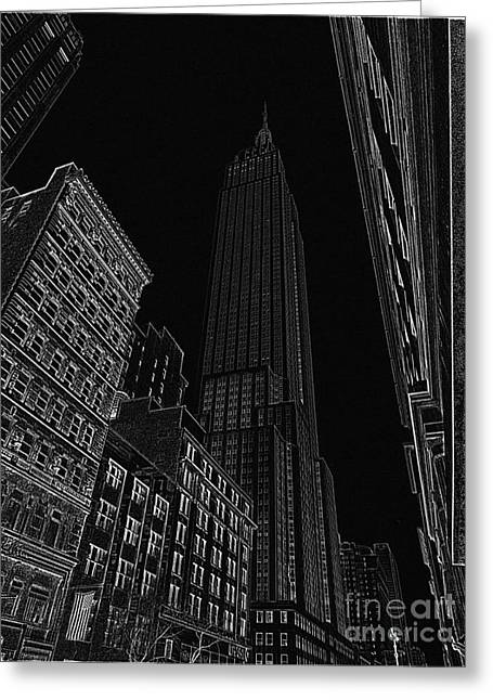 Empire Nyc White On Black Greeting Card by Meandering Photography