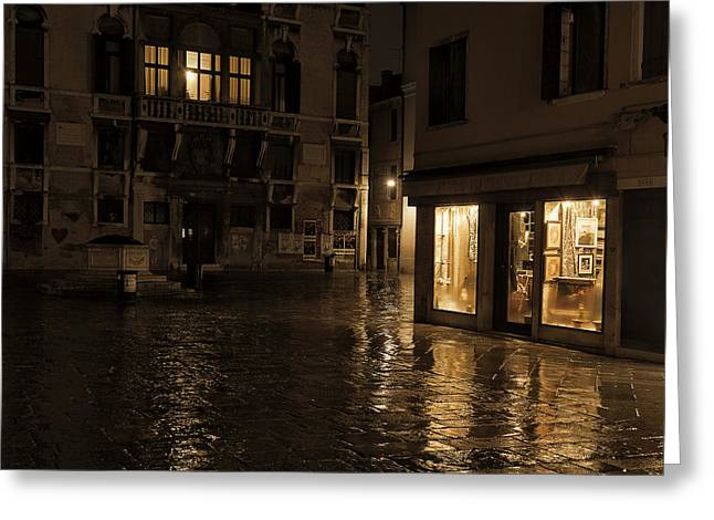 Shop Window Greeting Cards - Winters night in Venice Greeting Card by Marion Galt