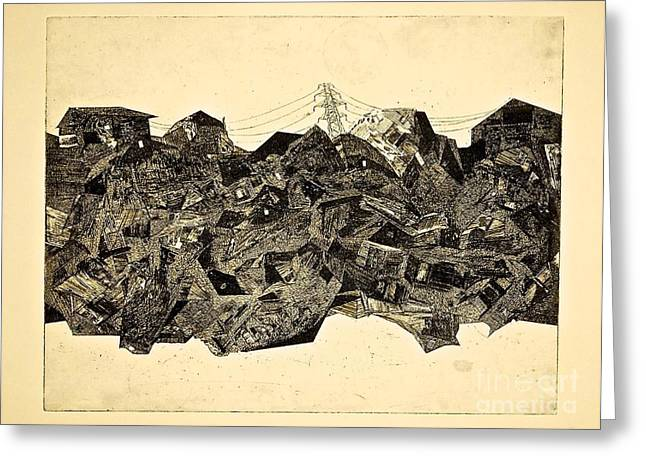 Printmaking Reliefs Greeting Cards - Empire of Lights Greeting Card by Ray Barsante