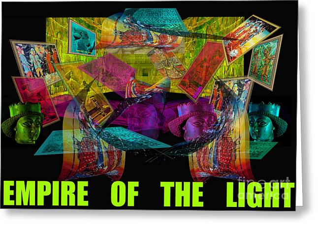 """photo Manipulation"" Paintings Greeting Cards - Empire of the Light-Poster Greeting Card by Dariush Alipanah- Jahroudi"