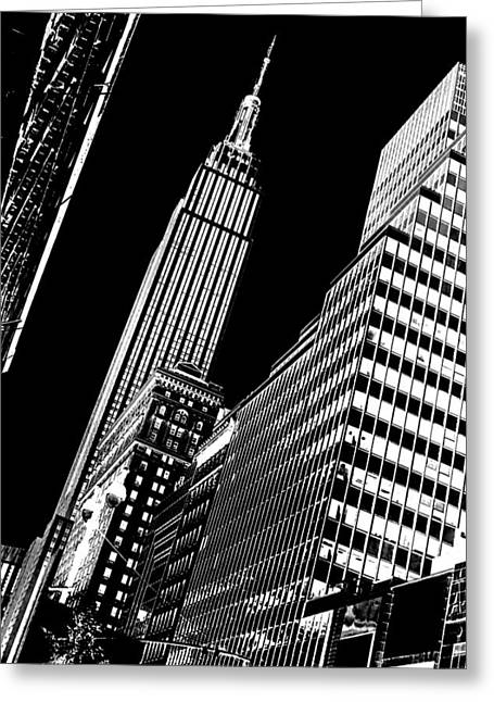Manhattan Greeting Cards - Empire Perspective Greeting Card by Az Jackson