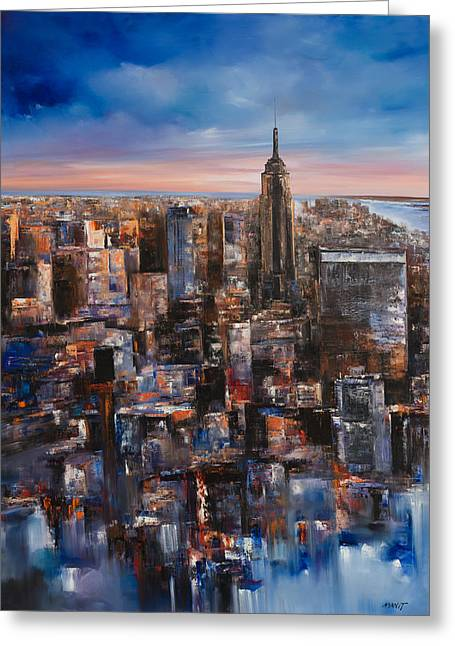 City Art Greeting Cards - Empire Rising Tall Greeting Card by Manit