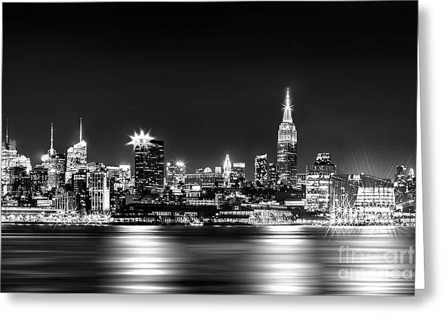 City Of New York Greeting Cards - Empire State At Night - BW Greeting Card by Az Jackson
