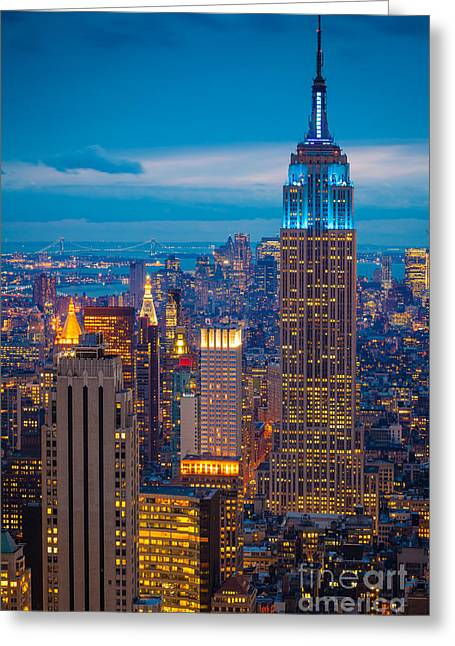 Evening Lights Greeting Cards - Empire State Blue Night Greeting Card by Inge Johnsson