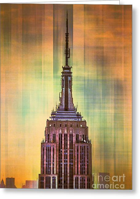 Featured Art Greeting Cards - Empire State Building 3 Greeting Card by Az Jackson