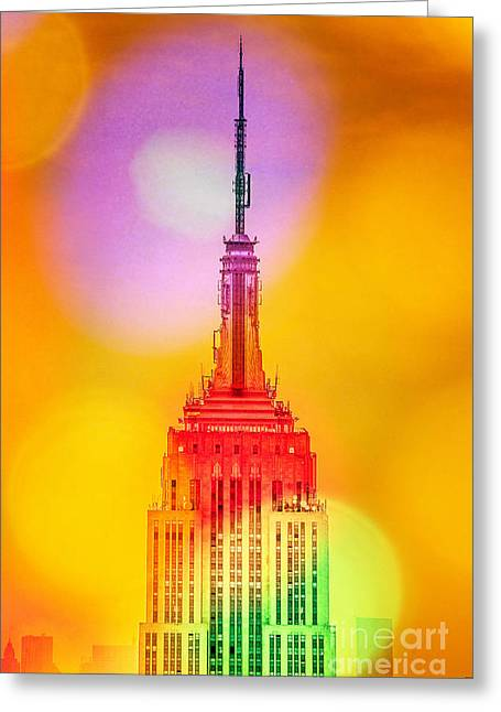 Featured Art Greeting Cards - Empire State Building 6 Greeting Card by Az Jackson