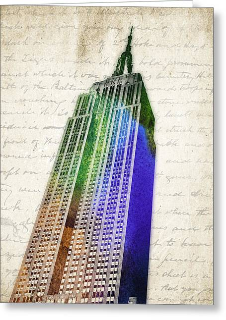 Historic Building Mixed Media Greeting Cards - Empire State Building Greeting Card by Aged Pixel