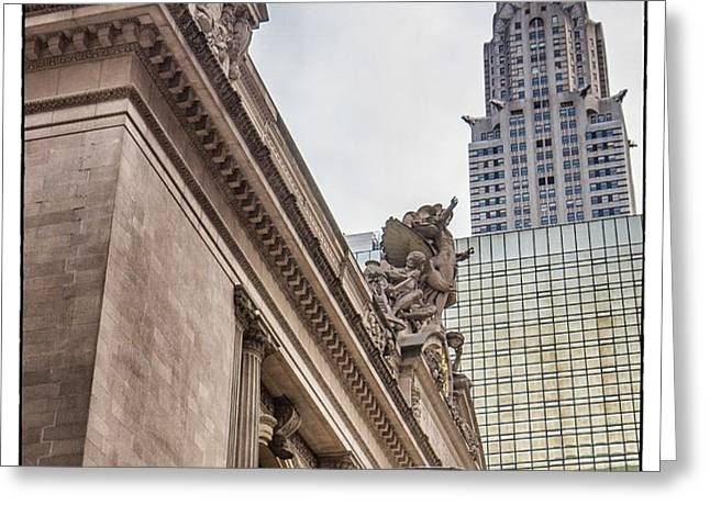 Empire State Building And Grand Central Station Dramatic Greeting Card by For Ninety One Days
