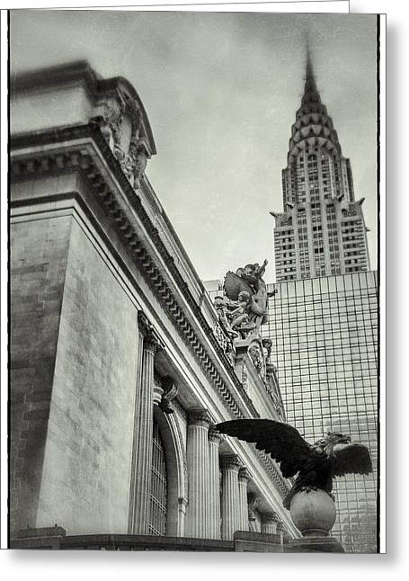 Wolkenkratzer Greeting Cards - Empire State Building And Grand Central Station Vintage Black And White Greeting Card by For Ninety One Days