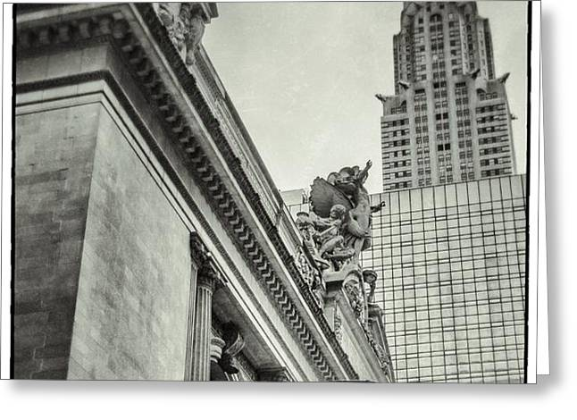 Empire State Building And Grand Central Station Vintage Black And White Greeting Card by For Ninety One Days