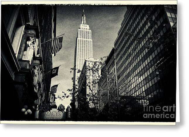 Filmnoir Greeting Cards - Empire State Building and Macys in New York City Greeting Card by Sabine Jacobs