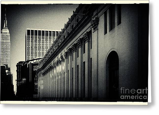 Filmnoir Greeting Cards - Empire State Building and US Post Office Building New York City Greeting Card by Sabine Jacobs