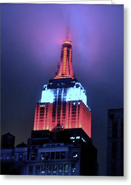 Empire State Building At Night Greeting Card by Michael Dagostino