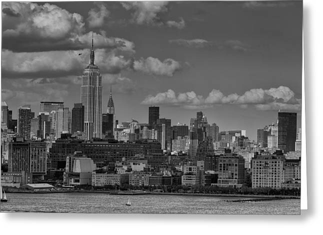 Brooklyn Promenade Greeting Cards - Empire State building Greeting Card by D Plinth