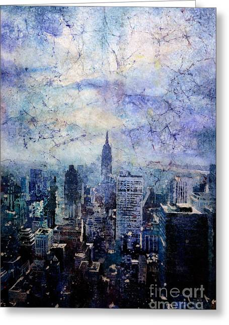 Empire State Building In Blue Greeting Card by Ryan Fox