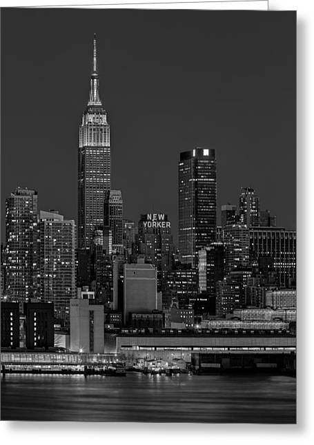 Night-scape Greeting Cards - Empire State Building In Christmas Lights BW Greeting Card by Susan Candelario