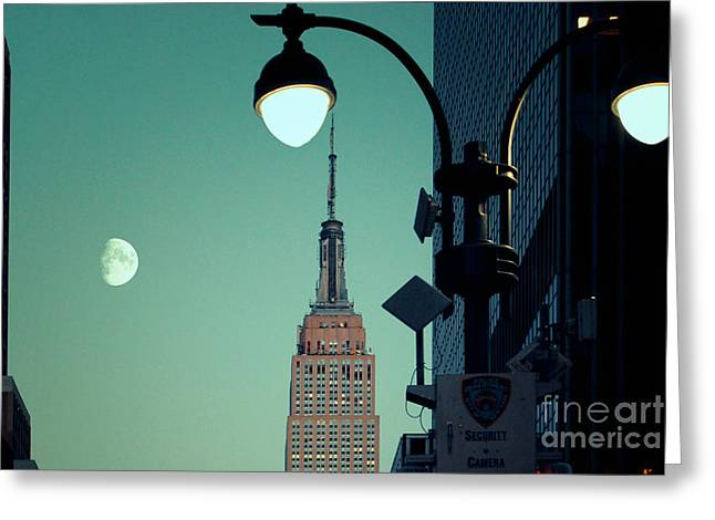 Moonrise Greeting Cards - Empire State Building in the Early Evening Greeting Card by Sabine Jacobs
