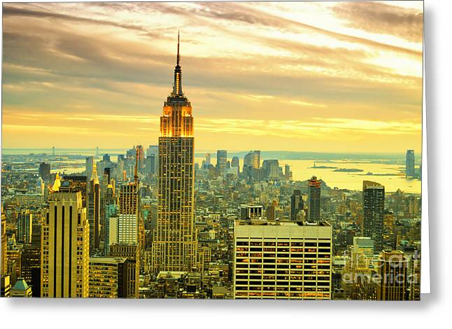 New York Vista Greeting Cards - Empire State Building in the Evening Greeting Card by Sabine Jacobs