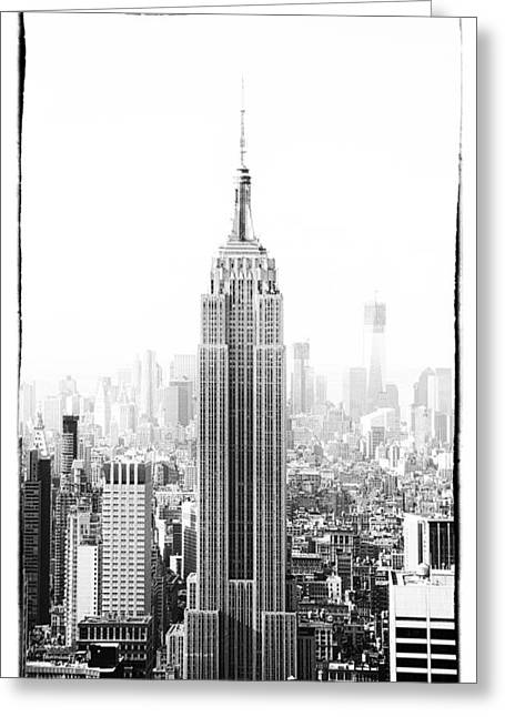 Skyscraper Pyrography Greeting Cards - Empire State Building Greeting Card by Jani Foeldes