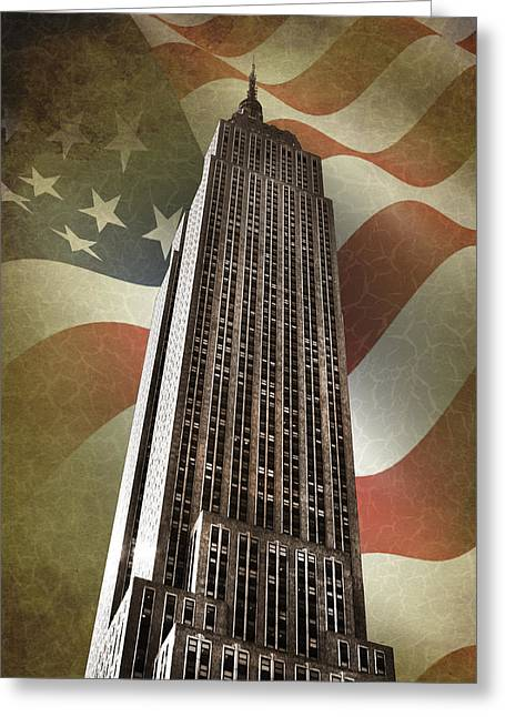 Urban Buildings Greeting Cards - Empire State Building Greeting Card by Mark Rogan
