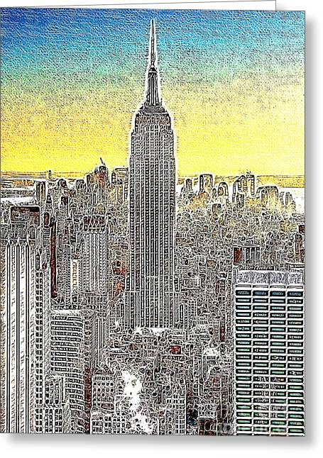 Highrise Digital Greeting Cards - Empire State Building New York City 20130425 Greeting Card by Wingsdomain Art and Photography