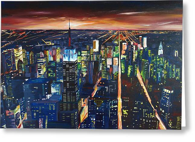 Midtown Paintings Greeting Cards - Empire State Building New York City Night Greeting Card by M Bleichner