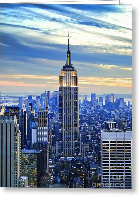 River. Clouds Greeting Cards - Empire State Building New York City USA Greeting Card by Sabine Jacobs