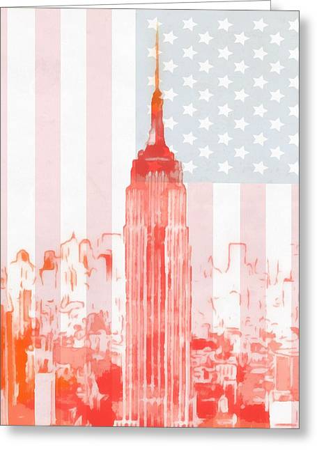 New Mind Greeting Cards - Empire State Building On American Flag Greeting Card by Dan Sproul