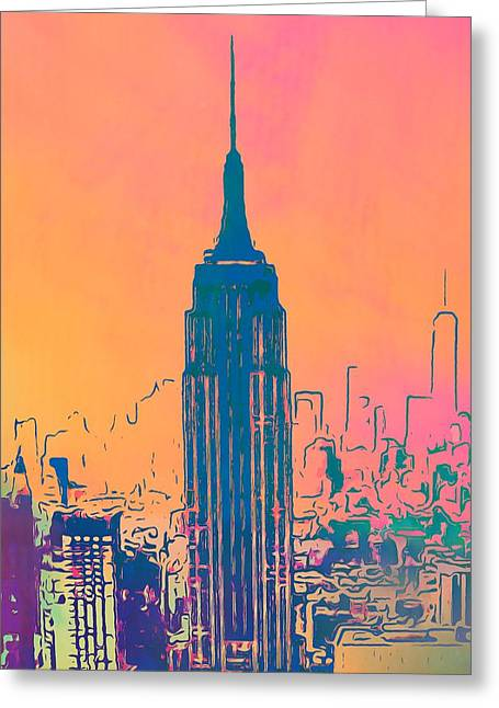 New Mind Greeting Cards - Empire State Building Pop Art Greeting Card by Dan Sproul