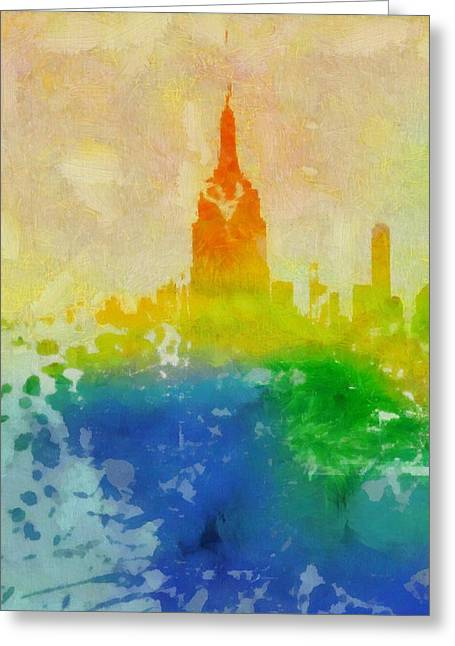 New Mind Paintings Greeting Cards - Empire State Building Watercolor Greeting Card by Dan Sproul