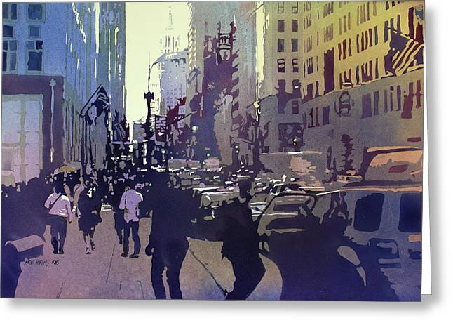 Park Scene Paintings Greeting Cards - Empire State Greeting Card by Kris Parins