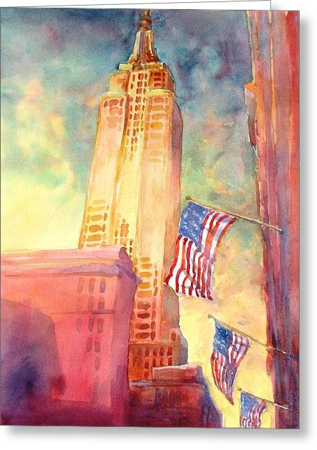 Buildings Paintings Greeting Cards - Empire State Greeting Card by Virgil Carter