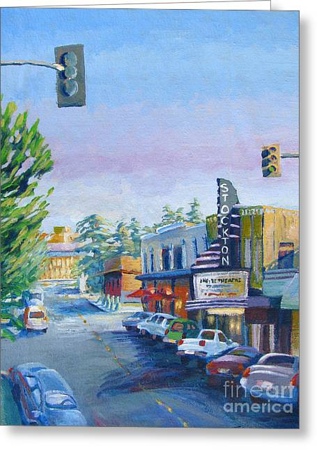 Stockton Paintings Greeting Cards - Empire Theatre Greeting Card by Vanessa Hadady BFA MA