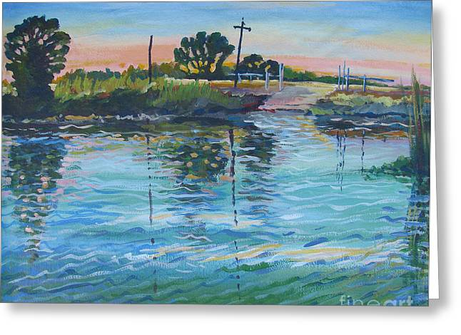 Stockton Paintings Greeting Cards - Empire Tract Ferry Greeting Card by Vanessa Hadady BFA MA